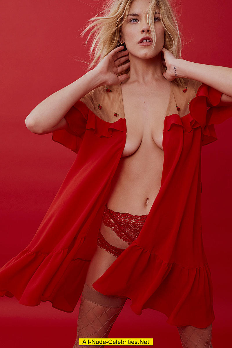ashley smith almost topless in red lingeries