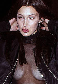 Bella Hadid nude nips under transparent top