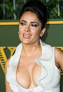 Busty Salma Hayek shows deep sexy cleavage